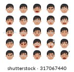 boy emotion faces vector... | Shutterstock .eps vector #317067440