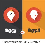 halloween ghost flat design card   Shutterstock .eps vector #317069876