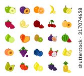 fruits and berries icons set on ... | Shutterstock .eps vector #317074658