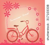 bicycle on a summer field....   Shutterstock .eps vector #317103338