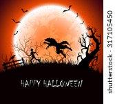 halloween background with... | Shutterstock .eps vector #317105450