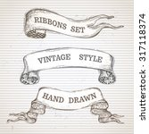 vintage hand drawn ribbon... | Shutterstock .eps vector #317118374