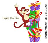 new year's card with amusing... | Shutterstock .eps vector #317118920