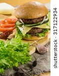 hot bbq burger with meat ... | Shutterstock . vector #317122934
