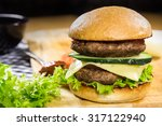 hot bbq burger with meat ... | Shutterstock . vector #317122940