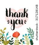 thank you card. hand drawn...   Shutterstock . vector #317128148