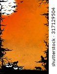 halloween night orange vertical ... | Shutterstock . vector #317129504