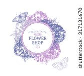 floral design template. pansy... | Shutterstock .eps vector #317131670