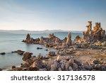 Mono Lake With Tufa Rock At...