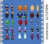 flat halloween game characters...