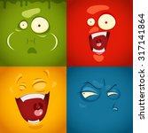 cute cartoon emotions fear ... | Shutterstock .eps vector #317141864