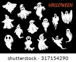eerie and funny flying ghosts...   Shutterstock .eps vector #317154290