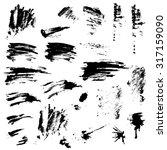 set of black blots and ink... | Shutterstock .eps vector #317159090