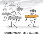 stick figure choose and walk on ... | Shutterstock .eps vector #317163386
