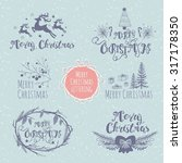 set of merry christmas lettering | Shutterstock .eps vector #317178350
