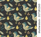 seamless pattern with birds and ... | Shutterstock . vector #317181263