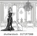 woman in a palace with a...   Shutterstock .eps vector #317197388