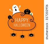 ghost  pumpkin  eyeball  three... | Shutterstock . vector #317202956