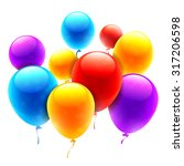 group of bright color balloons... | Shutterstock .eps vector #317206598