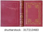 old open book cover in red... | Shutterstock . vector #317213483