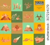 hand painted disaster icon set. ... | Shutterstock .eps vector #317214170