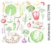 set vegetables and herbs.... | Shutterstock . vector #317217998