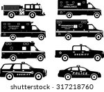 Stock vector silhouette illustration of fire truck police and ambulance cars isolated on white background 317218760