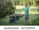 attractive pensioner is working ... | Shutterstock . vector #317219444