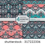 set of four ethnic seamless... | Shutterstock .eps vector #317222336