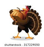 cartoon turkey holding huge... | Shutterstock . vector #317229050