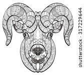 ornamental head of goat or ram. ... | Shutterstock .eps vector #317229644