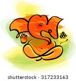 ganesha in watercolor painting... | Shutterstock .eps vector #317233163