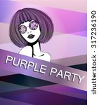 poster with purple girl...   Shutterstock .eps vector #317236190