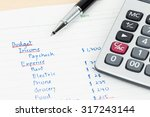 hand writing home budget with... | Shutterstock . vector #317243144