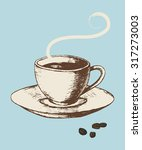 Sketch Illustration Of A Cup O...