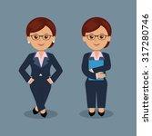 businesswoman holding folder ... | Shutterstock .eps vector #317280746