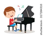 little boy playing piano.... | Shutterstock .eps vector #317284310
