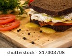 sandwich with fried bacon ... | Shutterstock . vector #317303708