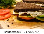 sandwich with fried bacon ... | Shutterstock . vector #317303714