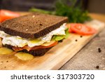sandwich with fried bacon ... | Shutterstock . vector #317303720