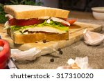 steak sandwich with fresh... | Shutterstock . vector #317310020