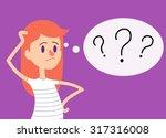 stressed ginger girl has many... | Shutterstock .eps vector #317316008