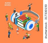 audio books listening isometric ... | Shutterstock .eps vector #317330150