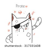angry cat pirate with a patch