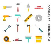 tools icon flat set for... | Shutterstock .eps vector #317345000