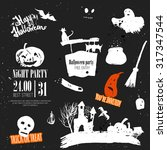vector halloween set of hand... | Shutterstock .eps vector #317347544