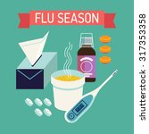 cool flu and cold season web... | Shutterstock .eps vector #317353358