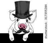 Pig Portrait With Mustache In ...