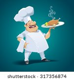 happy cheaf with fried chicken. ... | Shutterstock .eps vector #317356874