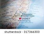 map view of newcastle  austrlia.... | Shutterstock . vector #317366303